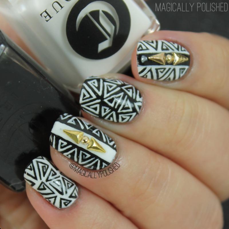 Stunning Black & Golden Stud Triangle Nails nail art by Born Pretty