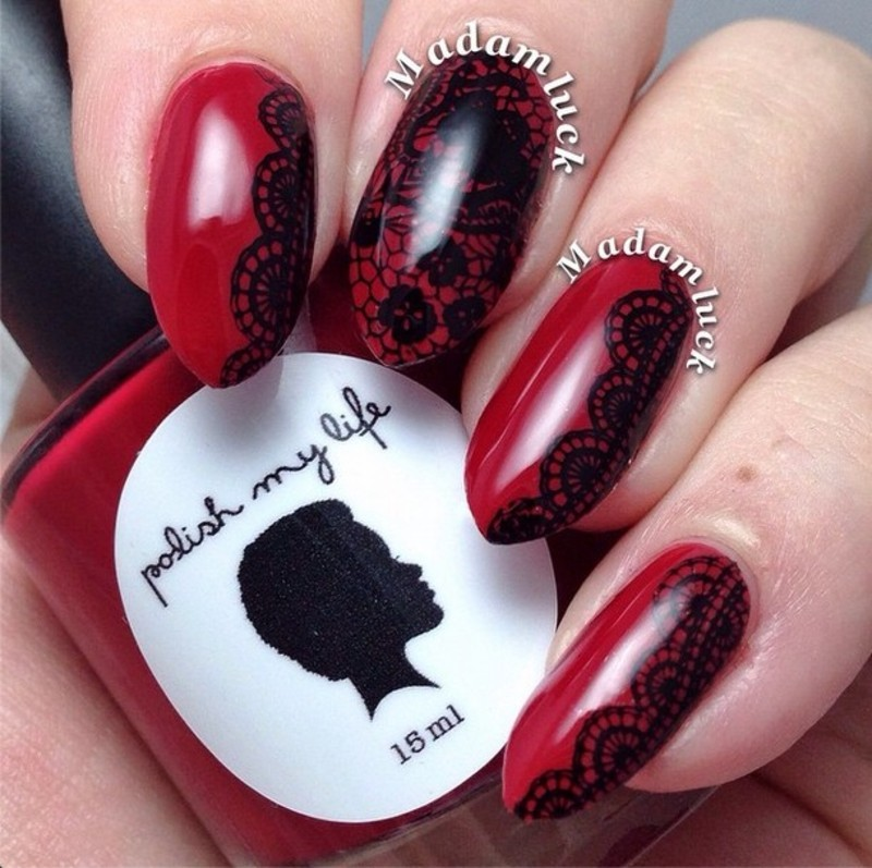 Awesome Red & Black Lace Stamping Nails nail art by Born Pretty
