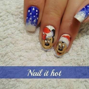 Mickey and Minnie nail art by Nail_it_hot