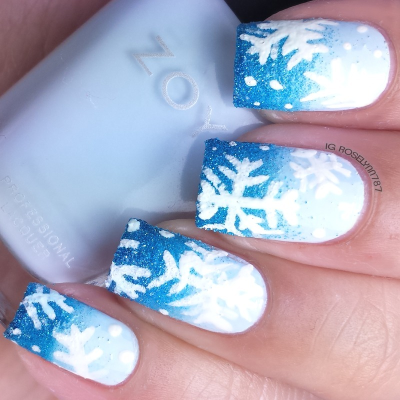Snowflakes nail art by Rose Mercedes