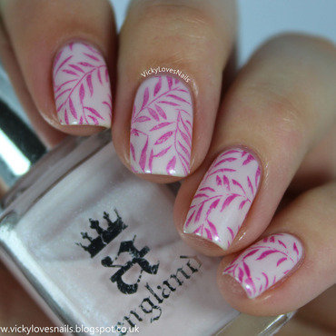 Pink Leafy Stamping nail art by Vicky Standage