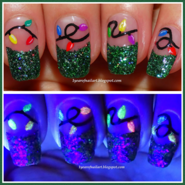 Christmas lights nail art by Margriet Sijperda