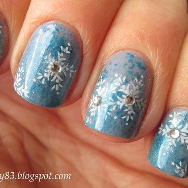 Snowflakes nail art nail art by Hana K.
