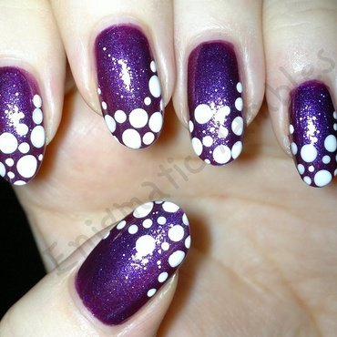 Purple and White French Dotticure nail art by Enigmatic Rambles