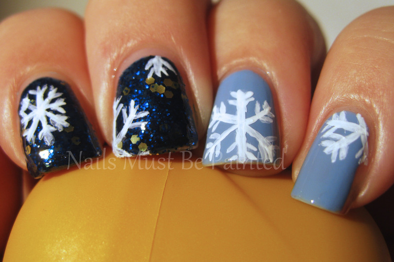 Snowflakes are Falling nail art by Emily