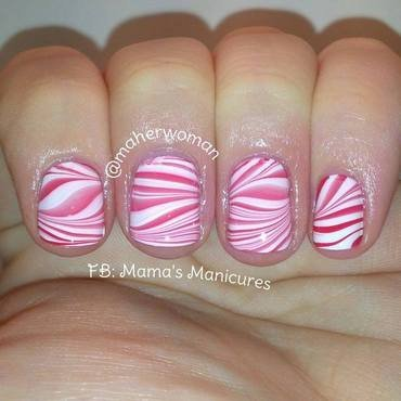 Candy Cane Watermarble nail art by Mama's Manicures (maherwoman)