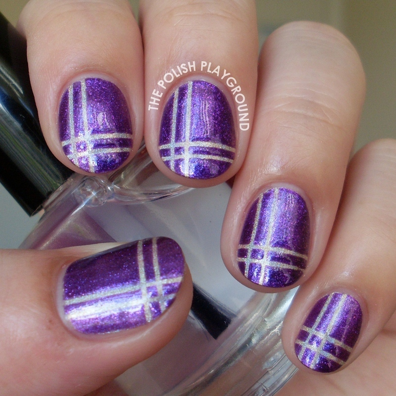 Purple and Holographic Neutral Plaid nail art by Lisa N