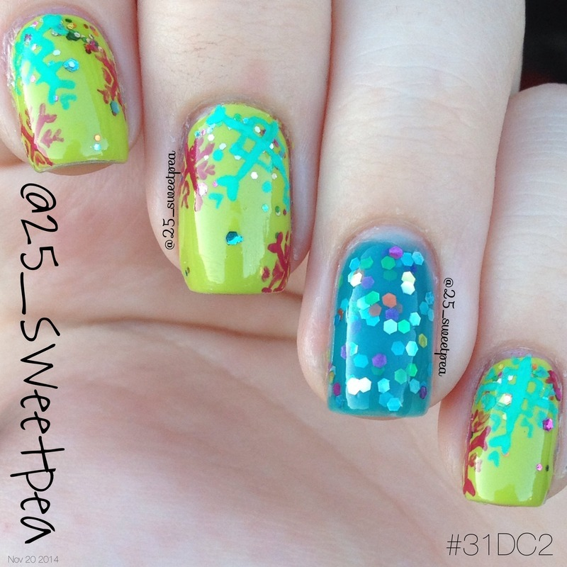 Modern Snow Flakes and some Jelly nail art by 25_sweetpea