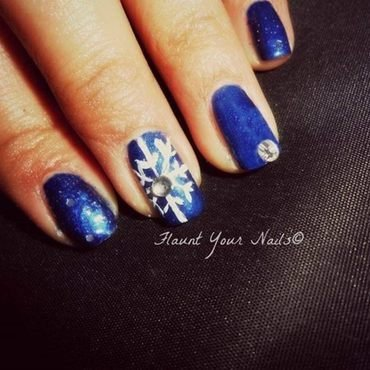 Snowflake and bling! nail art by Vidula Kulkarni