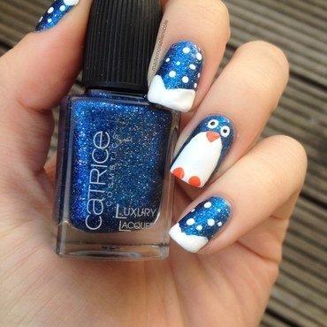 Penguin Wonderland nail art by mademoisellenicole