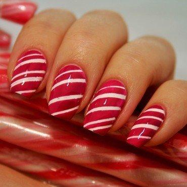 Candy Cane nail art by Jane