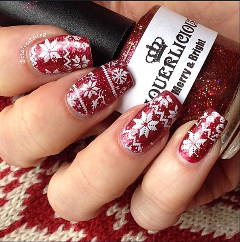 Christmas Jumper nail art by Claire O'Sullivan
