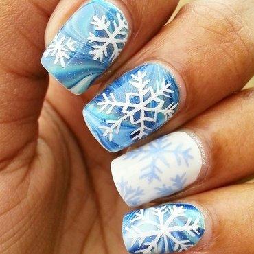 Snowflakes On Ice nail art by Tonya
