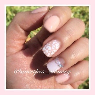 Powder Pink & Damask nail art by SweetPea_Whimsy