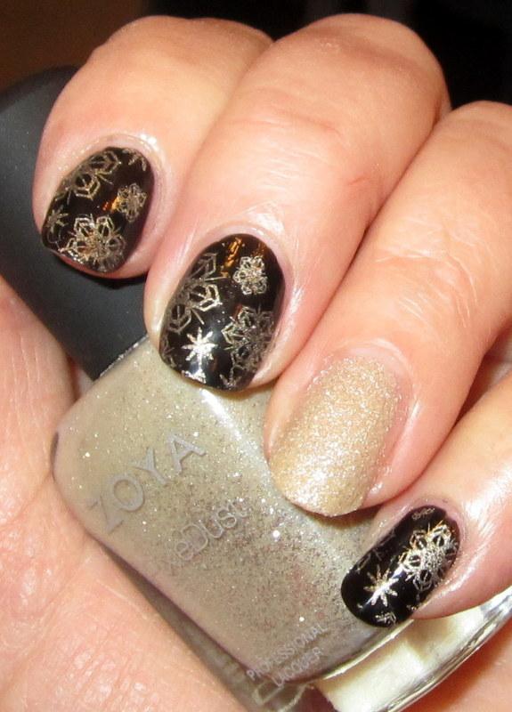 Golden Snowflakes on a dark night nail art by HELEN KAY