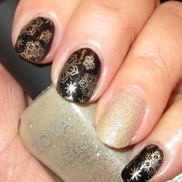 Golden Snowflakes on a dark night nail art by HELEN KAY