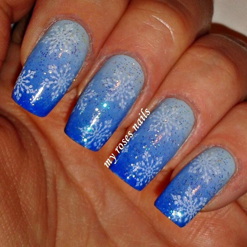 First snow  nail art by Ewa