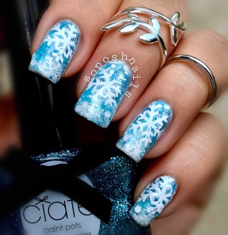 White and Blue Snowflakes  nail art by Debbie