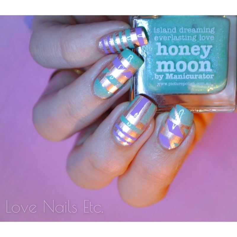 Gold & Pastel nail art by Love Nails Etc