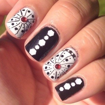 Black and white  nail art by anas_manis