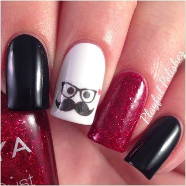 Mustache Nail Art nail art by Playful Polishes