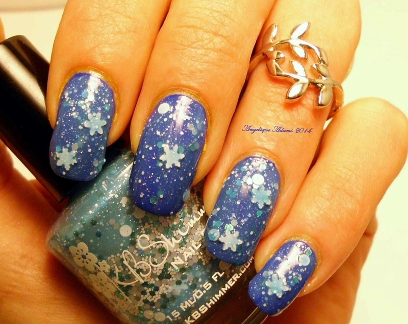 Snowflakes nail art by Angelique Adams