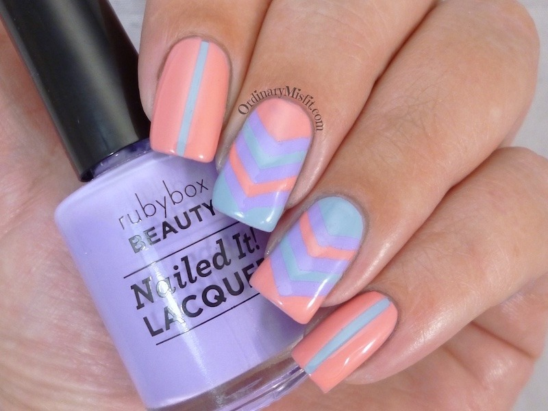 Summery chevrons nail art by Michelle