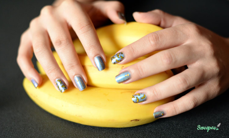 Banana nails nail art by Sweapee
