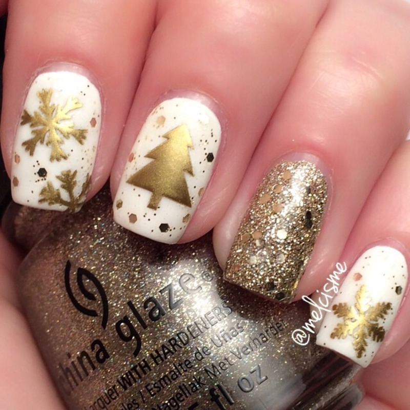 White Gold Christmas Nail Art By Melissa Nailpolis Museum Of