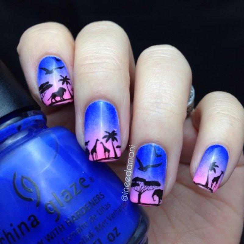 Sunset Safari nail art by Carmen Ineedamani - Sunset Safari Nail Art By Carmen Ineedamani - Nailpolis: Museum Of