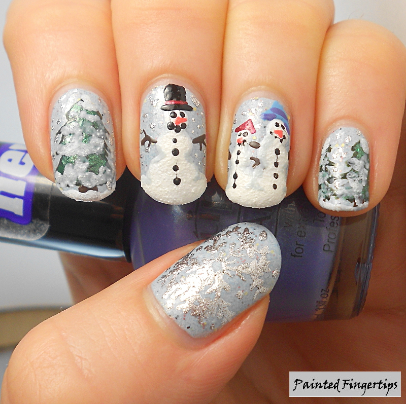 Snowmen nail art by Kerry_Fingertips