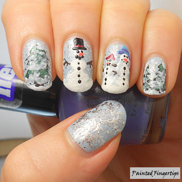 Snowmen nail art by Kerry_Fingertips