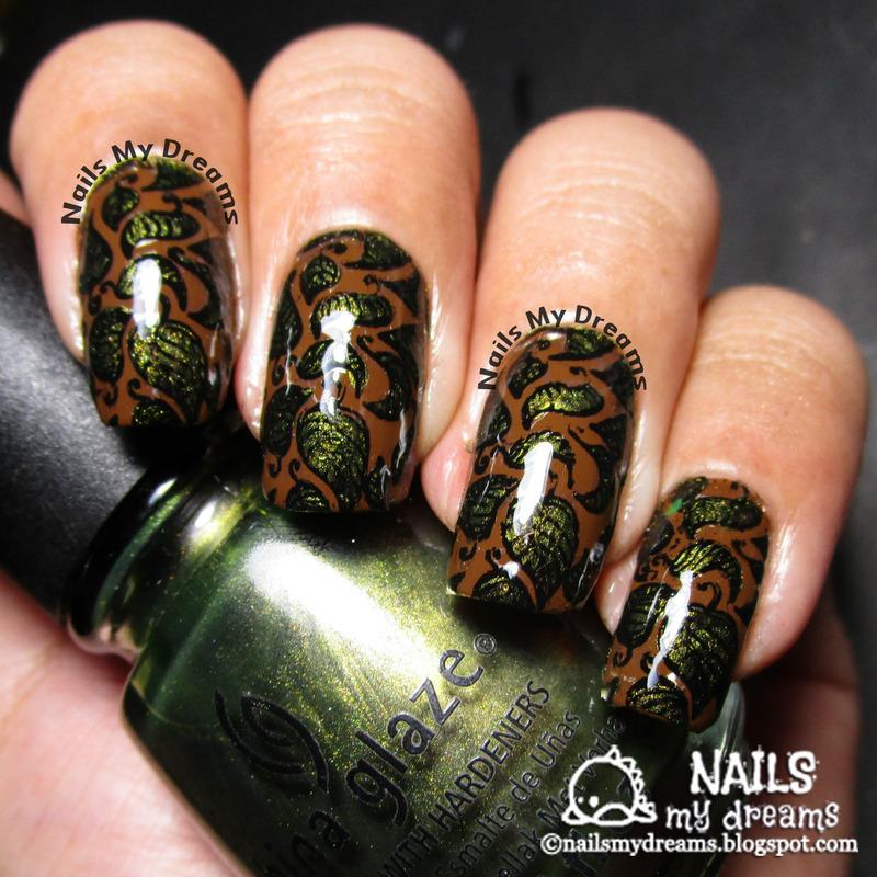Leaves Nail Art nail art by Kat of NailsMyDreams