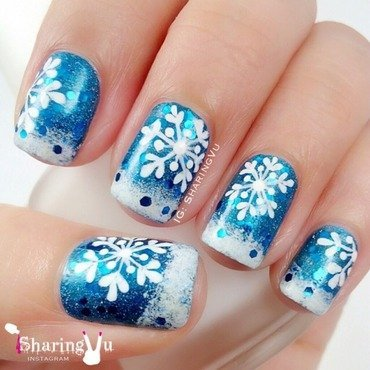 ❄️❄️Snowflake❄️❄️ nail art by SharingVu