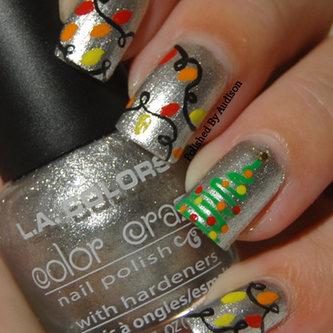 Christmas Tree and Lights Nail Art nail art by Ashley Hoopes
