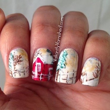 Snowy Winter Lanscape  nail art by Valiantly Varnished