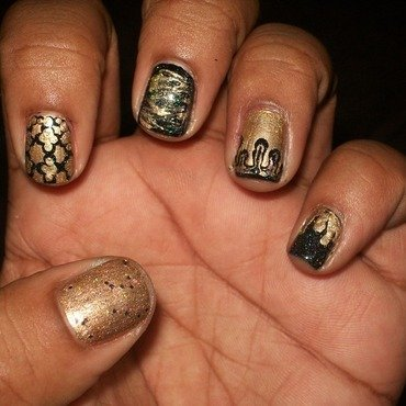 Black and Gold Mix And Match nail art by Toni Nailed It