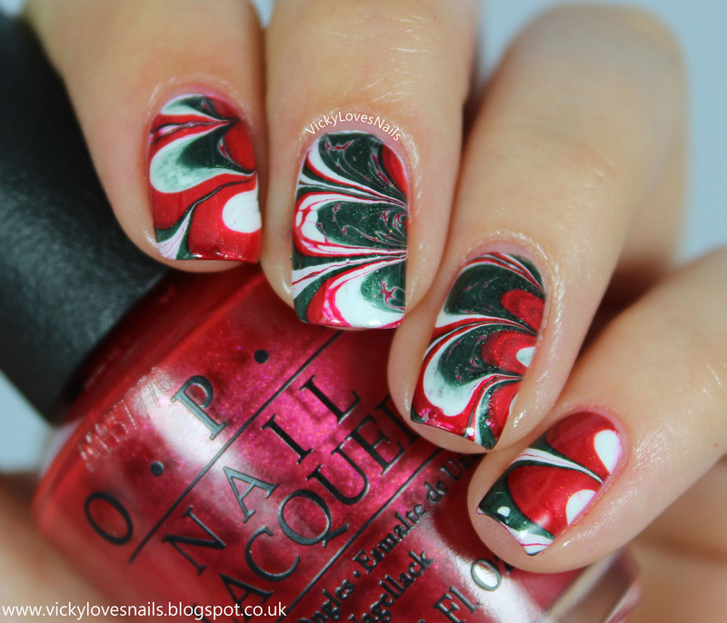 Christmas Watermarble nail art by Vicky Standage