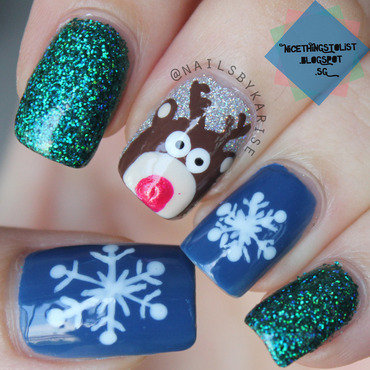 Snowy Reindeer Christmas nail art by Karise Tan
