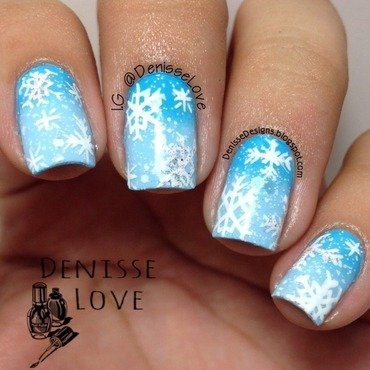 Snowflakes nail art by Denisse Love