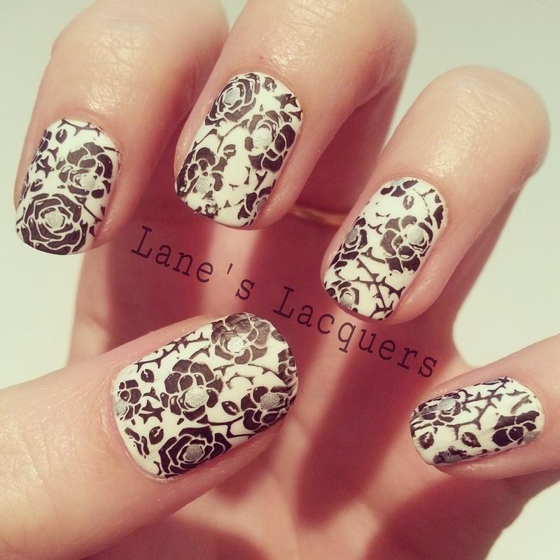 Matte Black & White Roses nail art by Rebecca