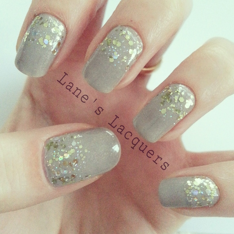 Gold Glitter Gradient nail art by Rebecca