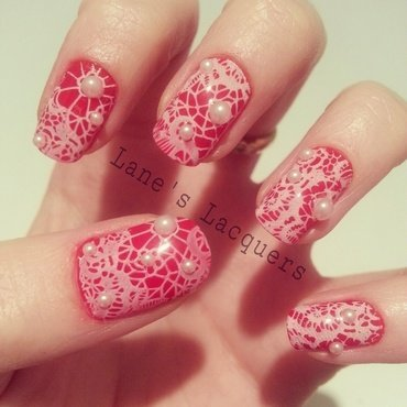 Ciate girl with a pearl red lace pearl nail art thumb370f