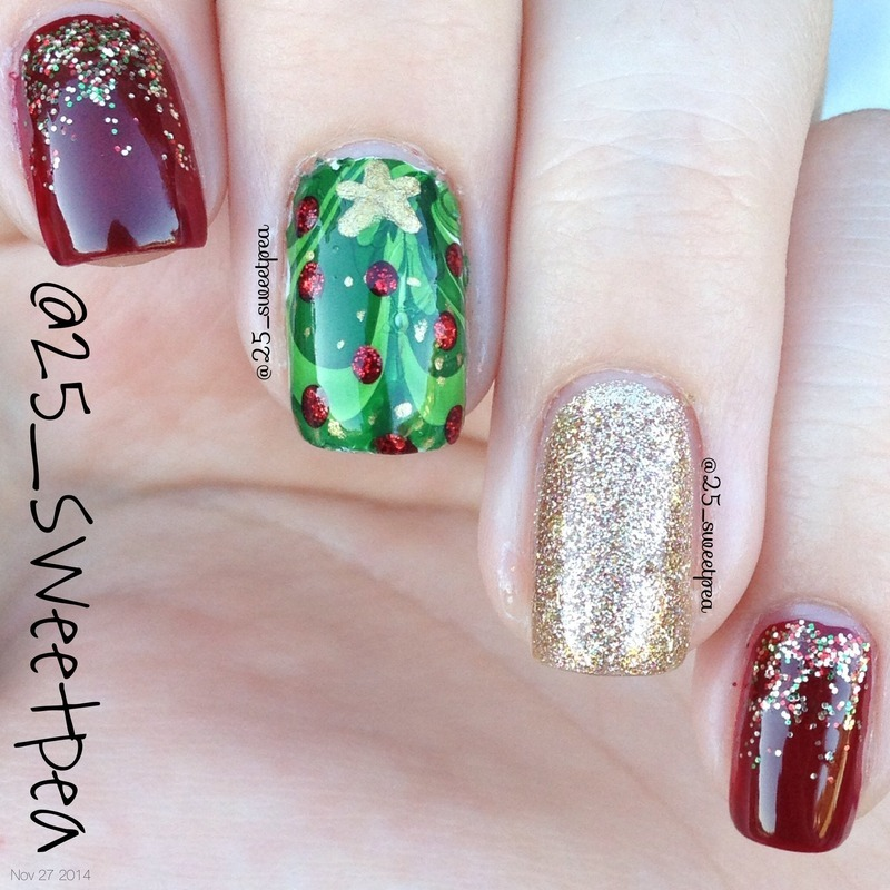 WaterMarble Christmas Trees nail art by 25_sweetpea