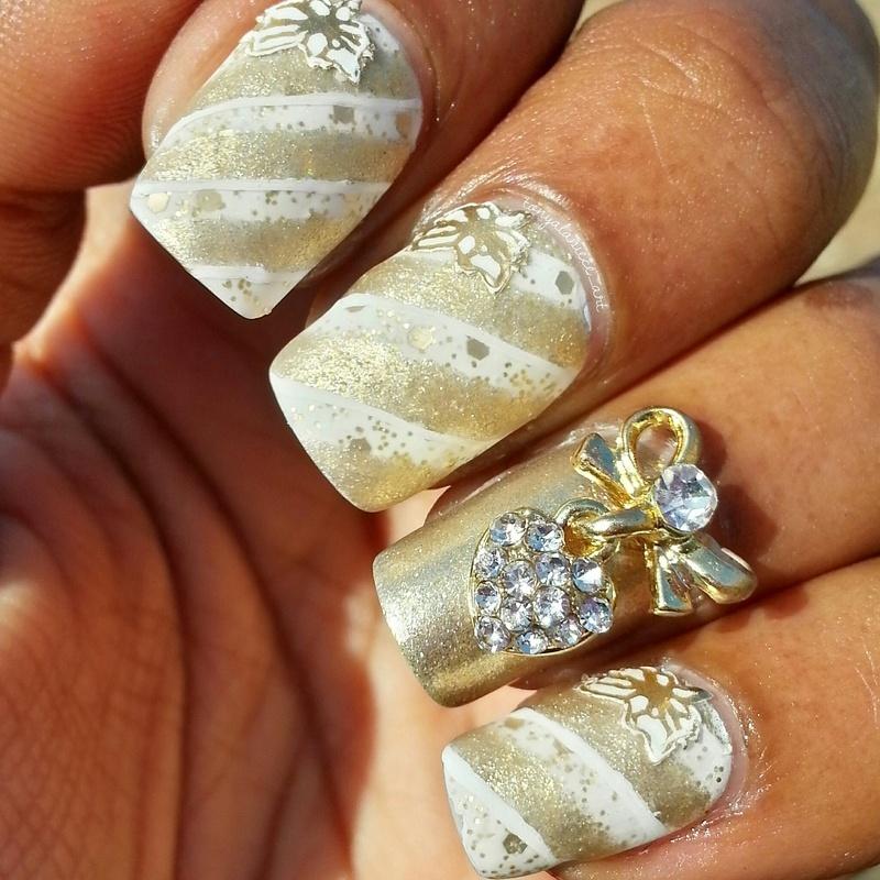 Gold Ribbons nail art by Tonya