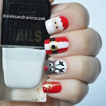 Santa Claus Nails nail art by Aleksandra Mroczek