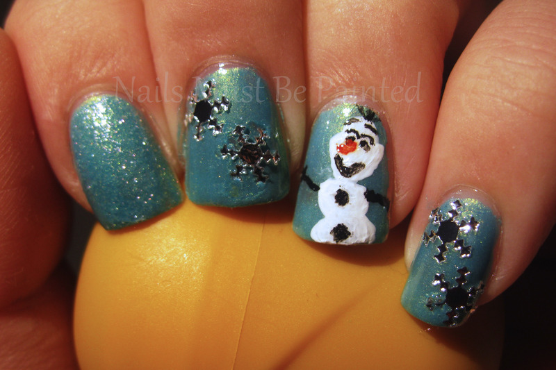 Do You Wanna Build a Snowman? nail art by Emily