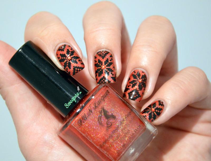 Christmas jacquard  nail art by Sweapee