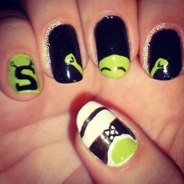 Shrek nails nail art by Amarins