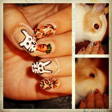 Cute bunny & carrot nails nail art by Amarins